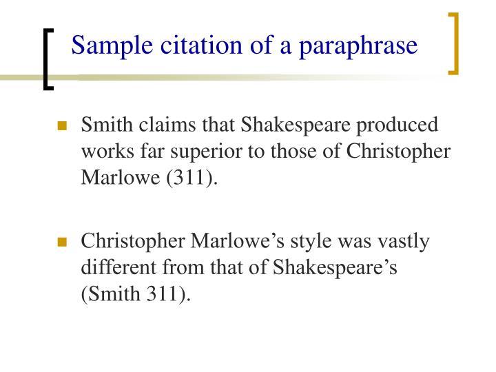 Sample citation of a paraphrase