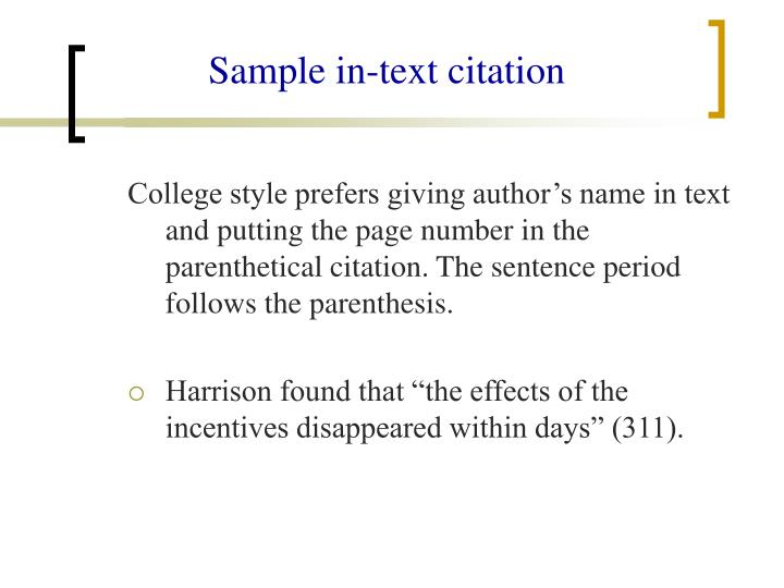 Sample in-text citation