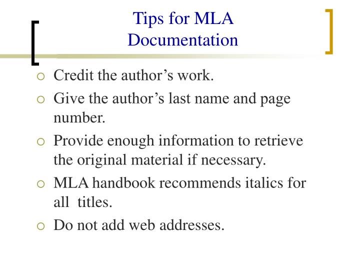 Tips for MLA