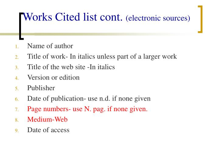 Works Cited list cont.