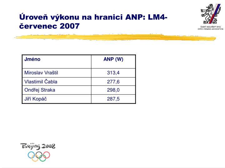 Úroveň výkonu na hranici ANP: LM4-