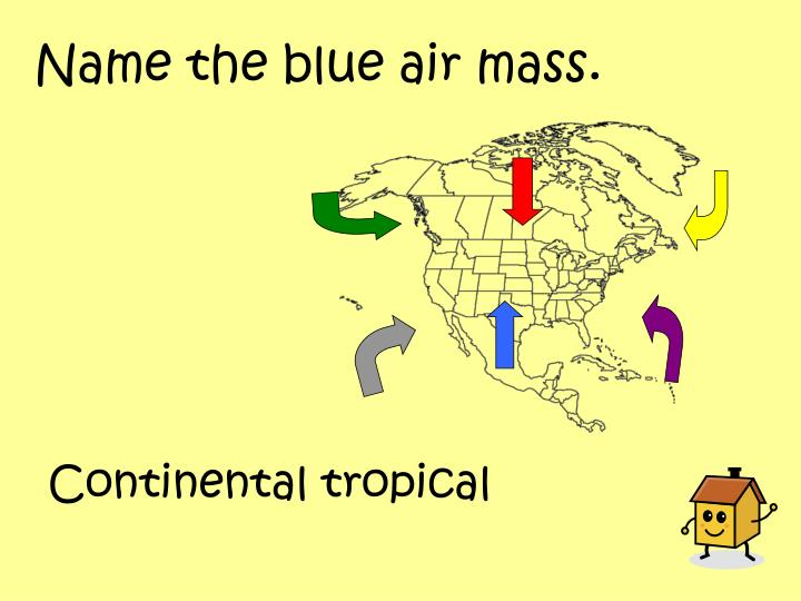 Name the blue air mass.