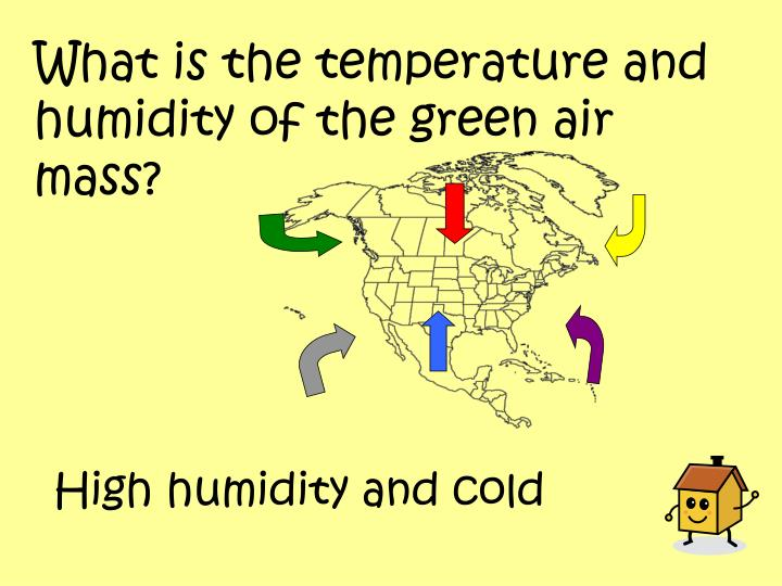 What is the temperature and humidity of the green air mass?