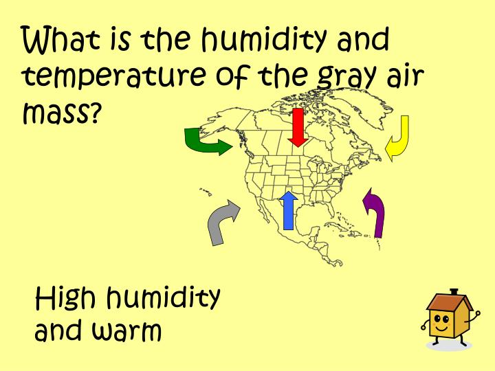 What is the humidity and temperature of the gray air mass?