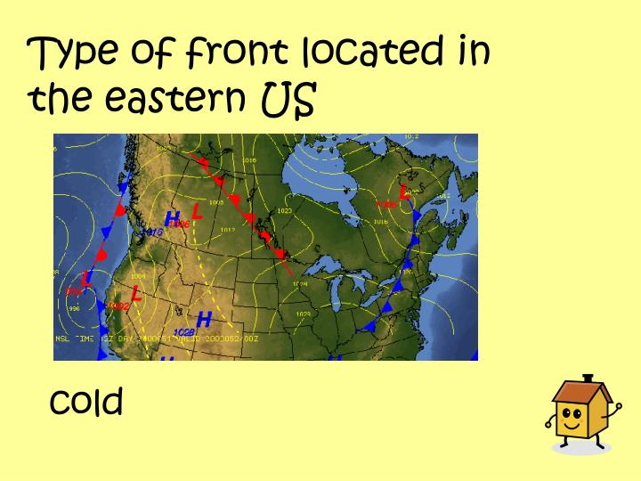 Type of front located in the eastern US