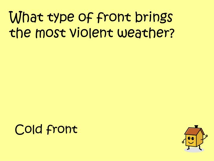 What type of front brings the most violent weather?