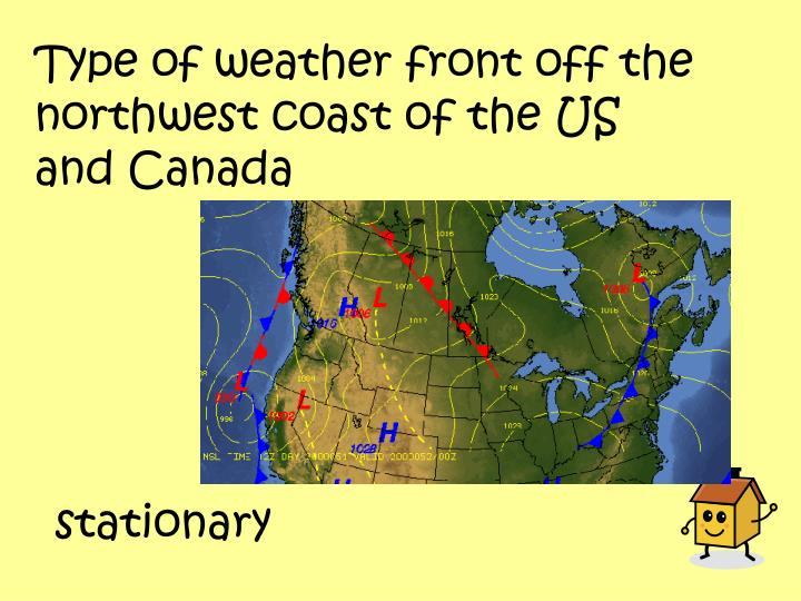 Type of weather front off the northwest coast of the US and Canada