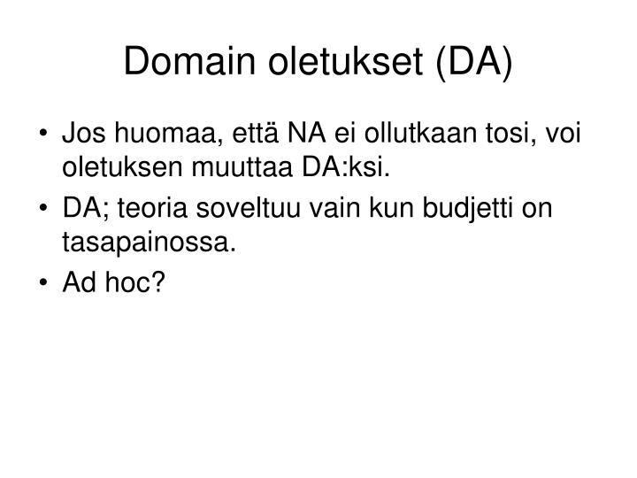 Domain oletukset (DA)