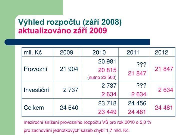 Výhled rozpočtu (září 2008)
