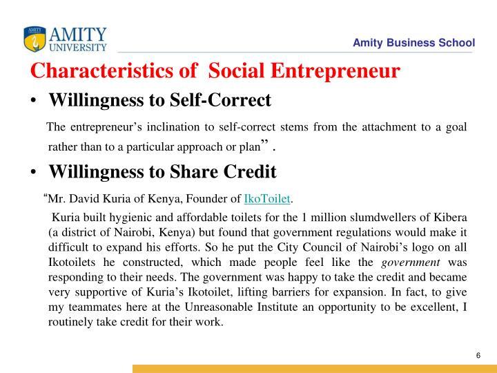 Characteristics of  Social Entrepreneur