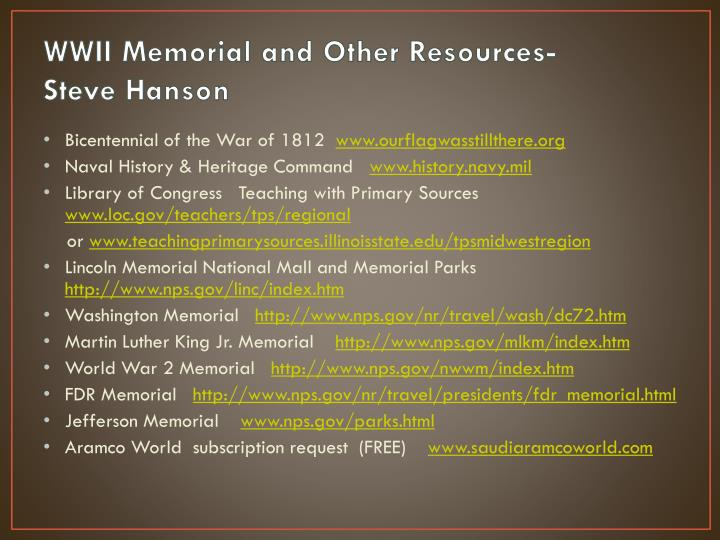 Wwii memorial and other resources steve hanson