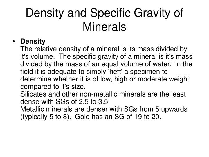 Density and Specific Gravity of Minerals
