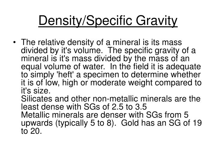 Density/Specific Gravity