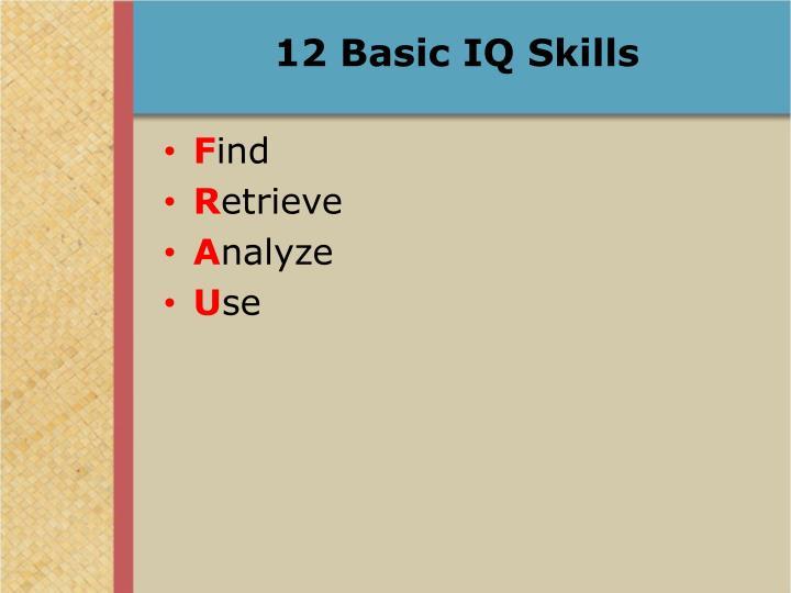 12 Basic IQ Skills