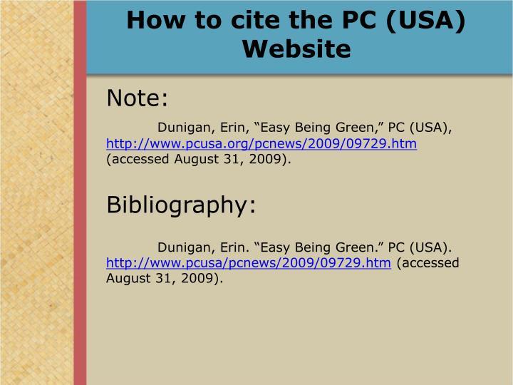 How to cite the PC (USA) Website
