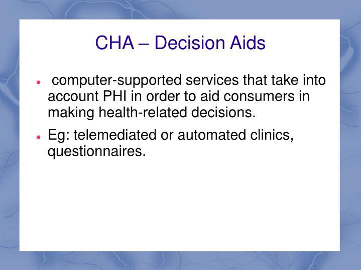 CHA – Decision Aids