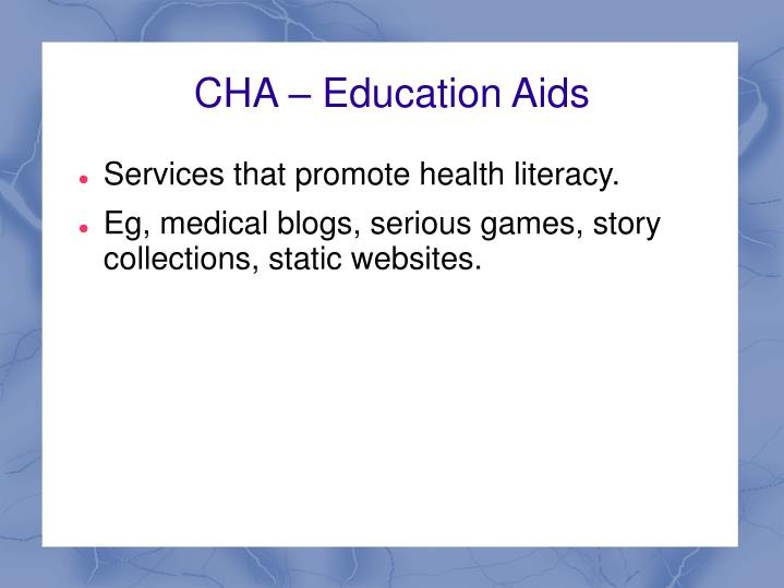 CHA – Education Aids