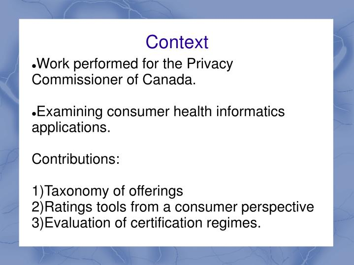 Work performed for the Privacy Commissioner of Canada.