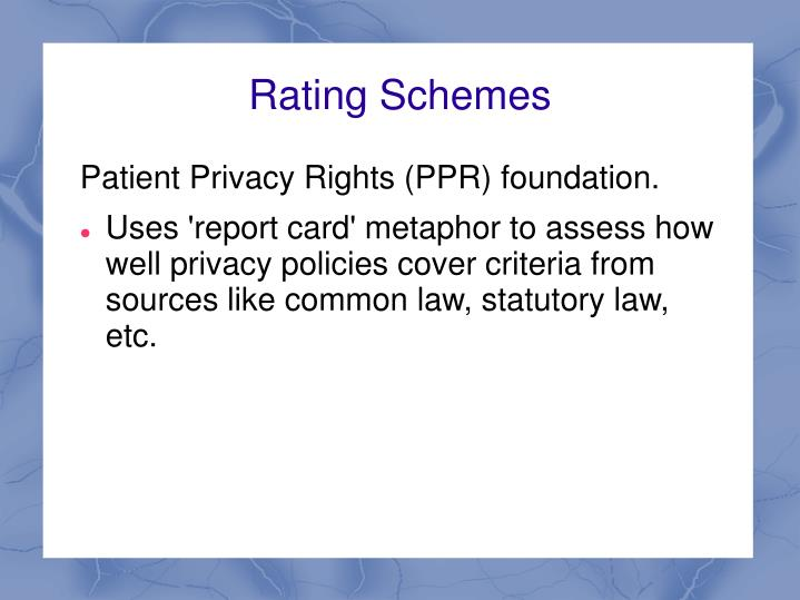 Rating Schemes