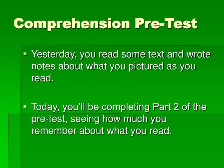 Comprehension Pre-Test