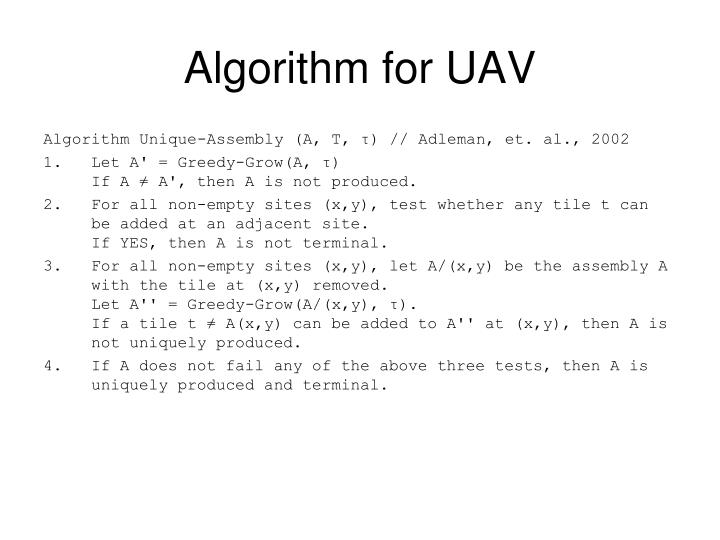 Algorithm for UAV