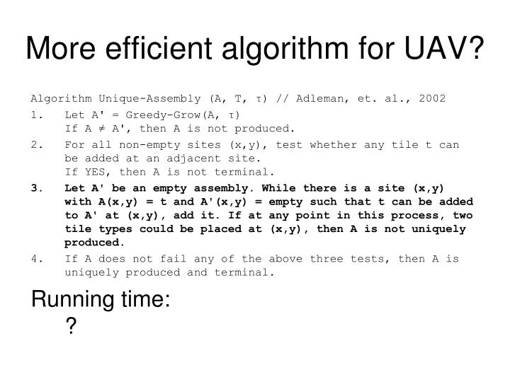 More efficient algorithm for UAV?