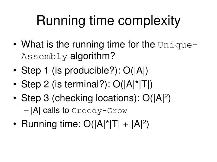 Running time complexity