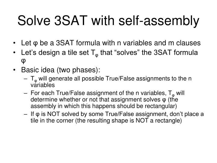 Solve 3SAT with self-assembly