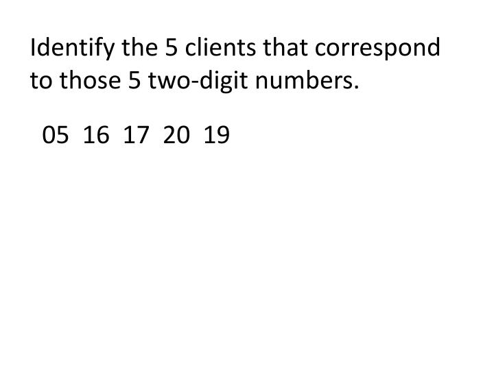 Identify the 5 clients that correspond to those 5 two-digit numbers.