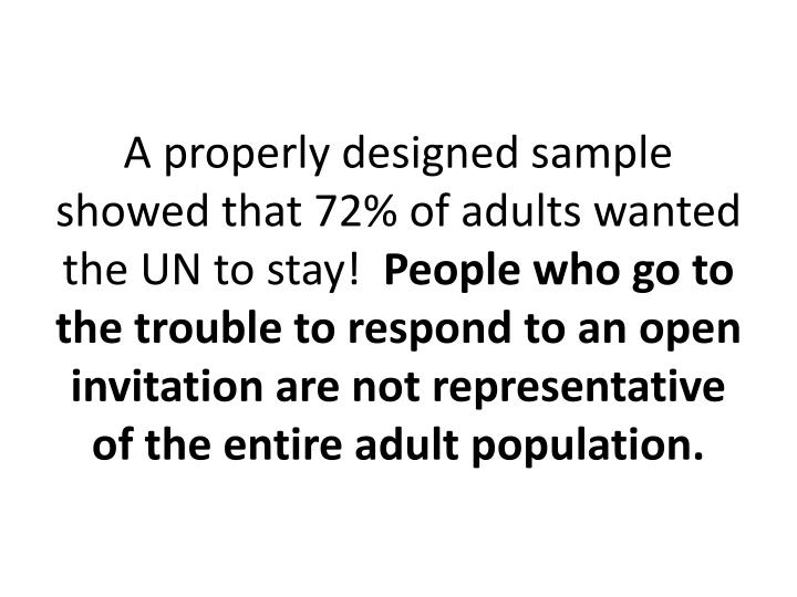 A properly designed sample showed that 72% of adults wanted the UN to stay!