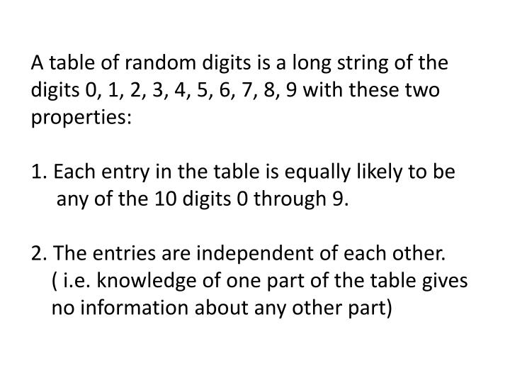 A table of random digits is a long string of the digits 0, 1, 2, 3, 4, 5, 6, 7, 8, 9 with these two properties:
