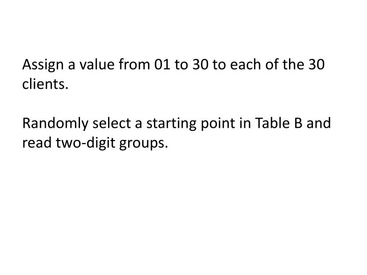 Assign a value from 01 to 30 to each of the 30 clients.