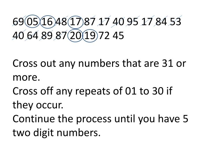 69 05 16 48 17 87 17 40 95 17 84 53 40 64 89 87 20 19 72 45