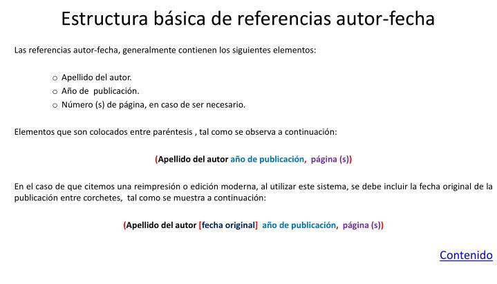 Estructura básica de referencias autor-fecha