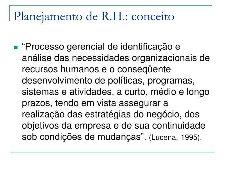 Planejamento de R.H.: conceito
