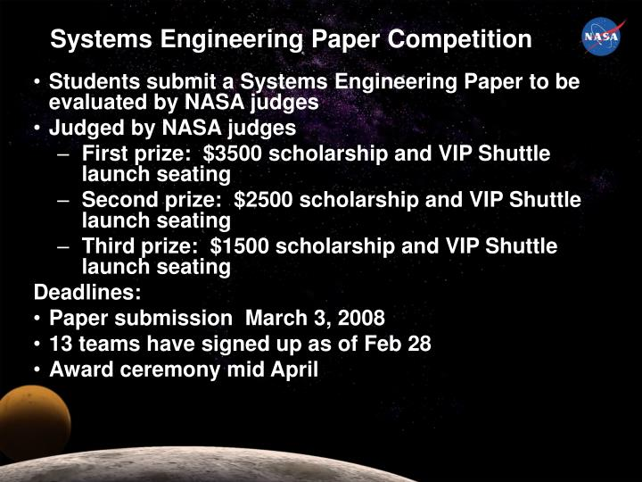 Systems Engineering Paper Competition