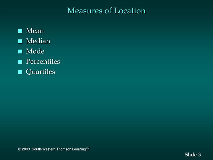Measures of location