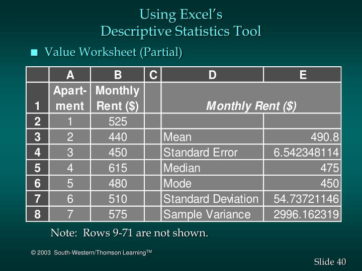 Using Excel's