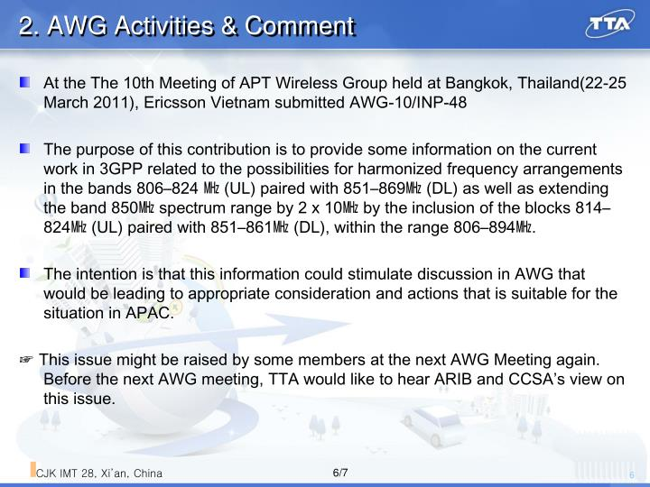 2. AWG Activities & Comment