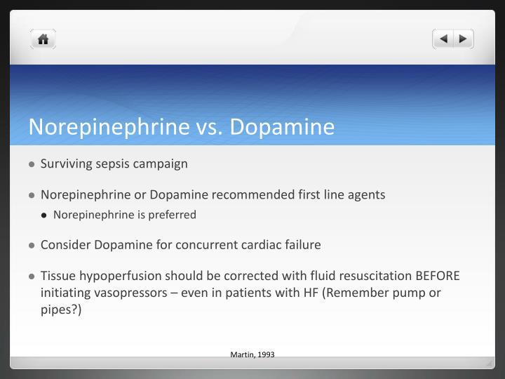 Norepinephrine vs. Dopamine