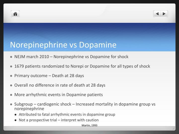 Norepinephrine vs Dopamine