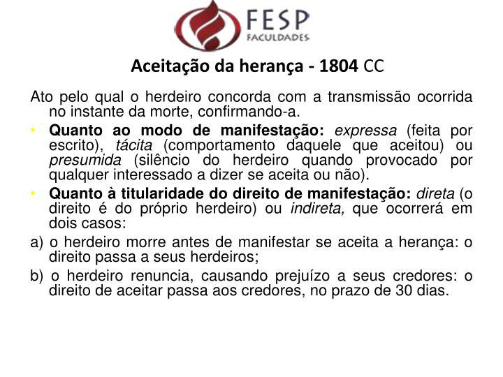 Aceitação da herança - 1804