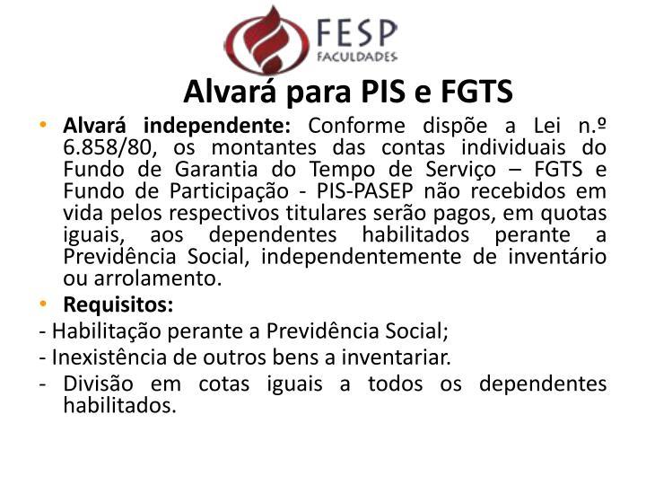 Alvará para PIS e FGTS