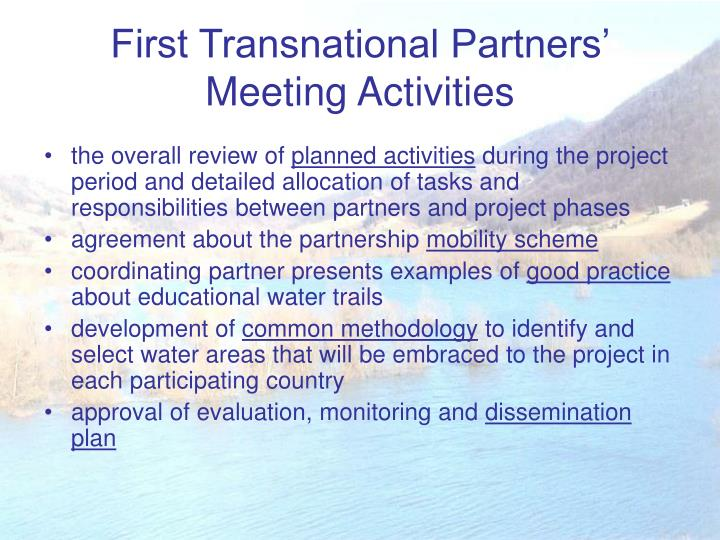 First transnational partners meeting activities