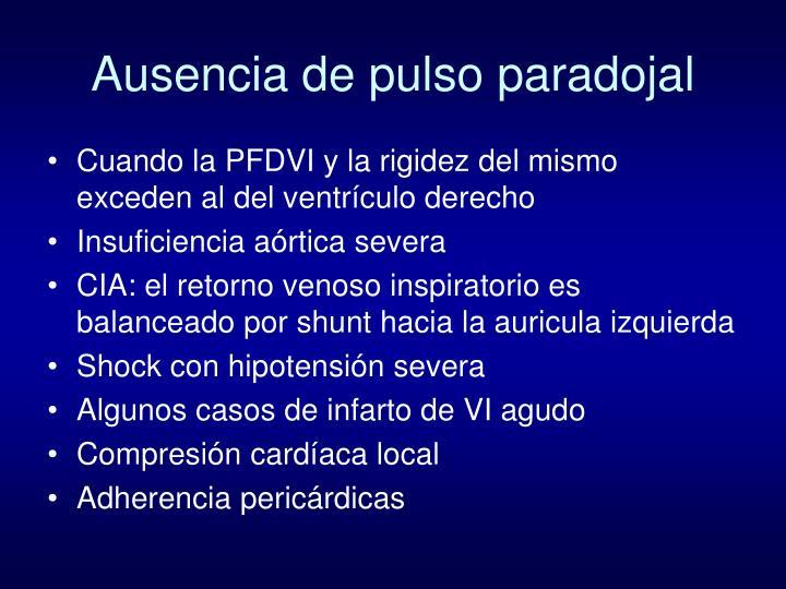 Ausencia de pulso paradojal