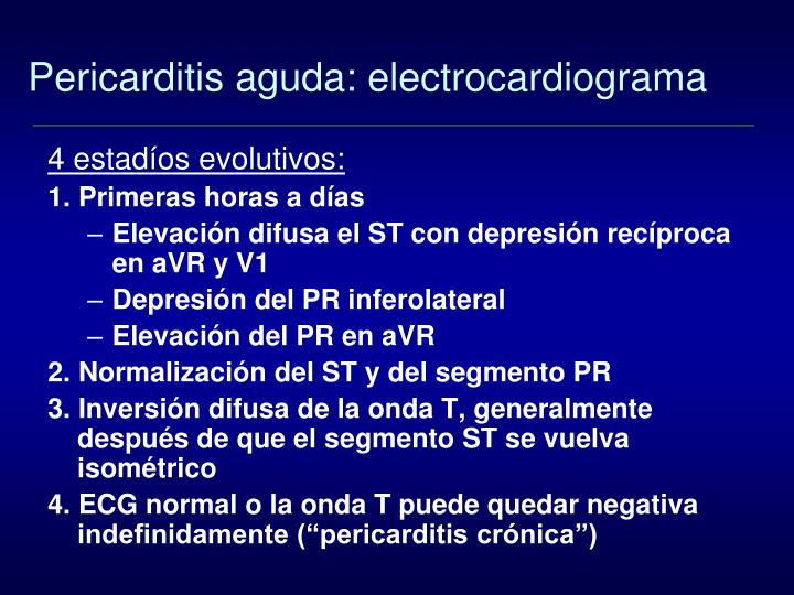 Pericarditis aguda: electrocardiograma