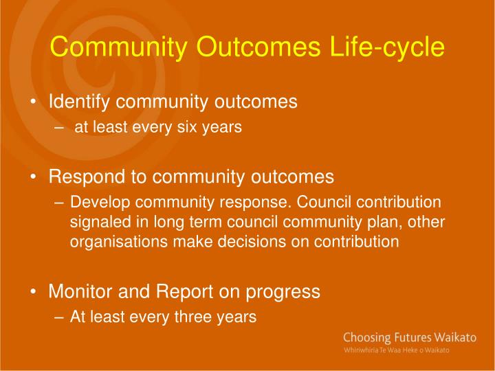Community Outcomes Life-cycle
