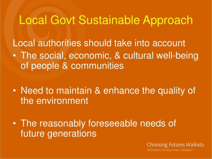 Local Govt Sustainable Approach