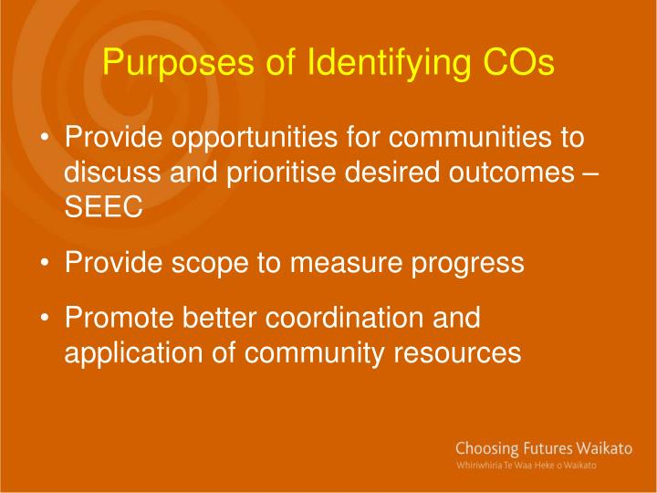 Purposes of Identifying COs