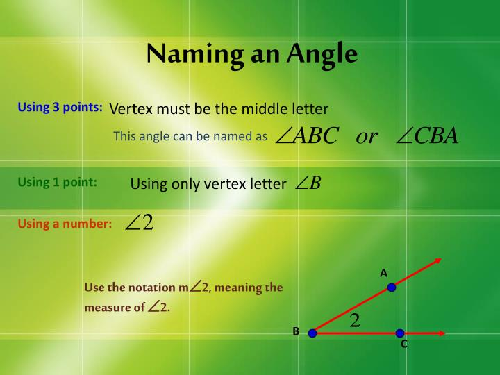 Naming an a ngle